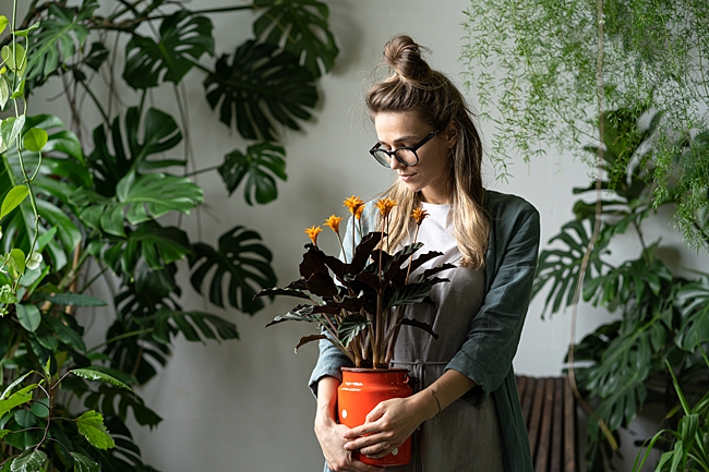 image of woman with milk jug planter