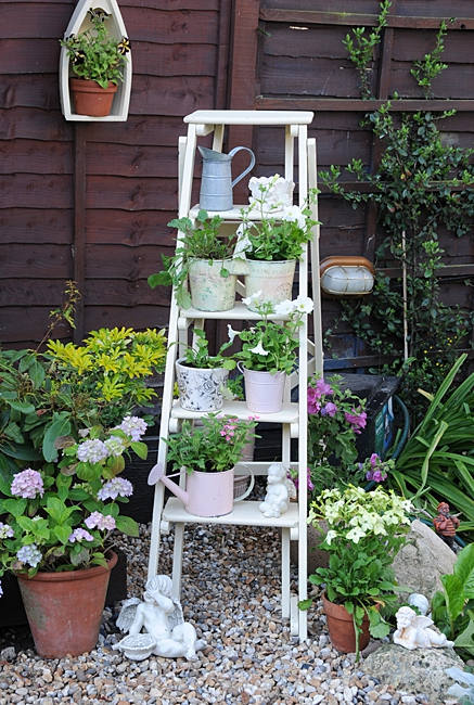 image of a ladder to use as a household item planter