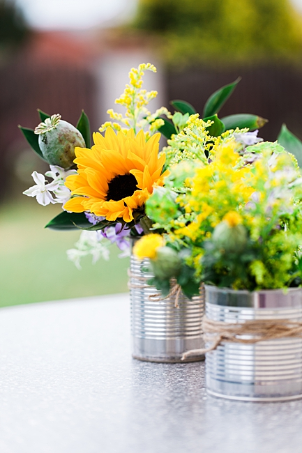 image of tin cans repurposed as planters