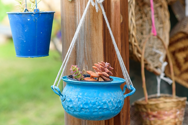 image of dish planter using kitchenware as a planter
