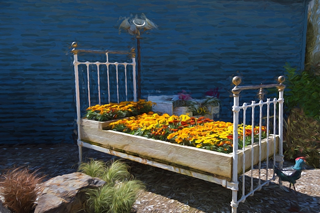 image of vintage bed used as a planter