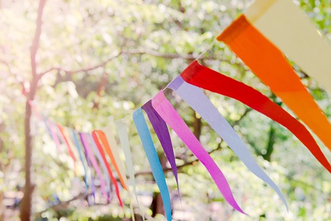 image of pretty bunting over a patio