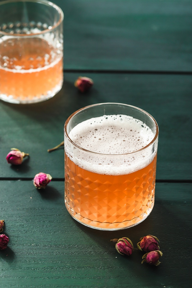 image of rose kombucha in glasses